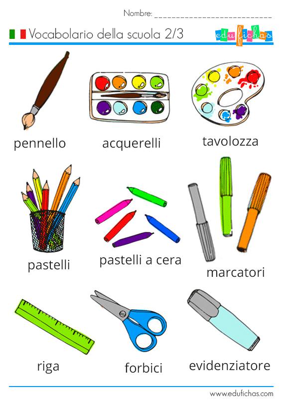 vocabolario della scuola