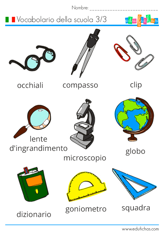 vocabulario del colegio en italiano