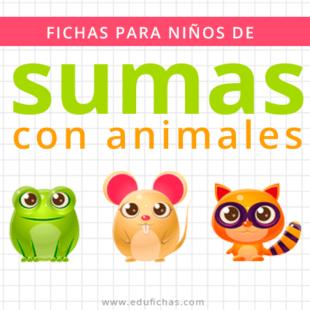 fichas para niños de sumas con animales
