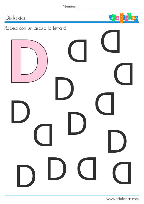dislexia actividades letra d