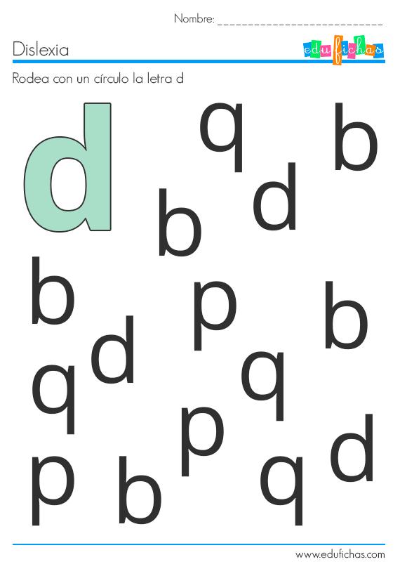 dislexia d worksheet