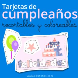 Tarjetas de cumpleaños recortables y coloreables