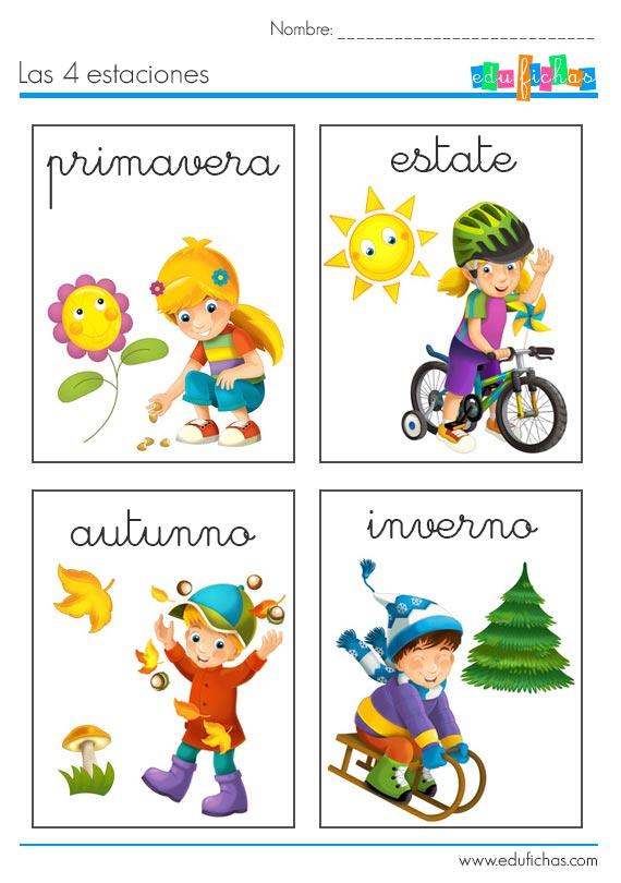 Las 4 estaciones en italiano fichas de vocabulario para for Fuera de aqui en ingles