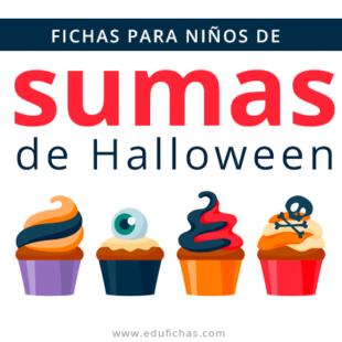 Fichas de sumas con dibujos de Halloween