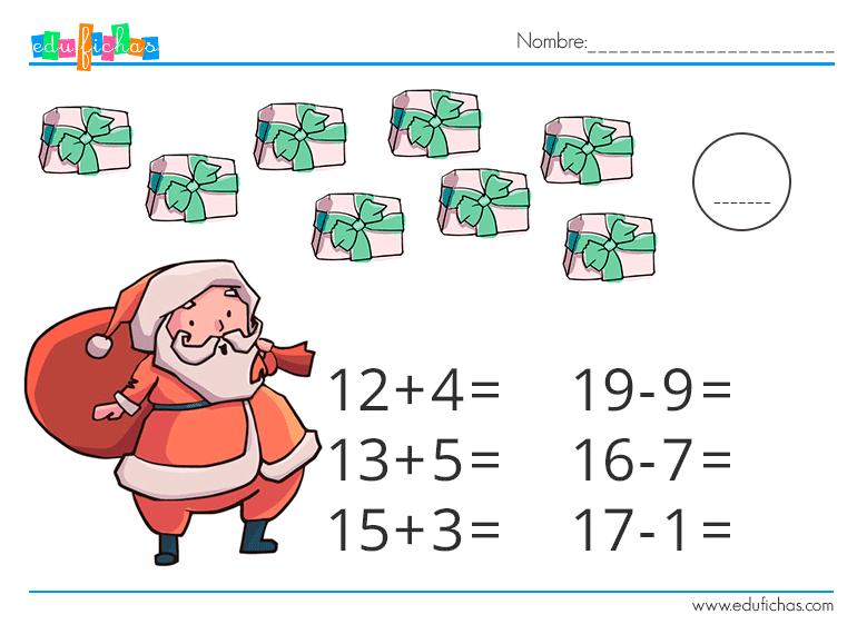 fichas matematicas navidad