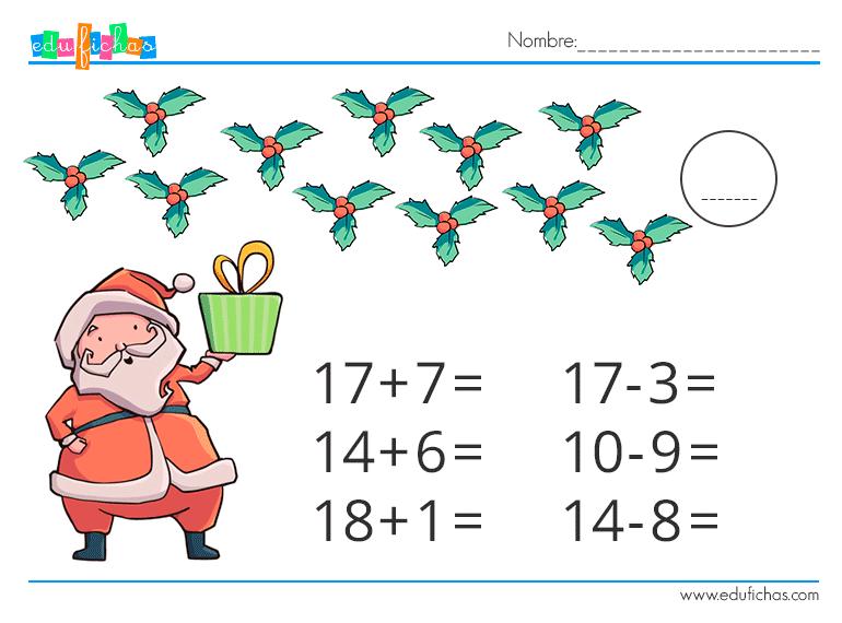 fichas navidad matematicas