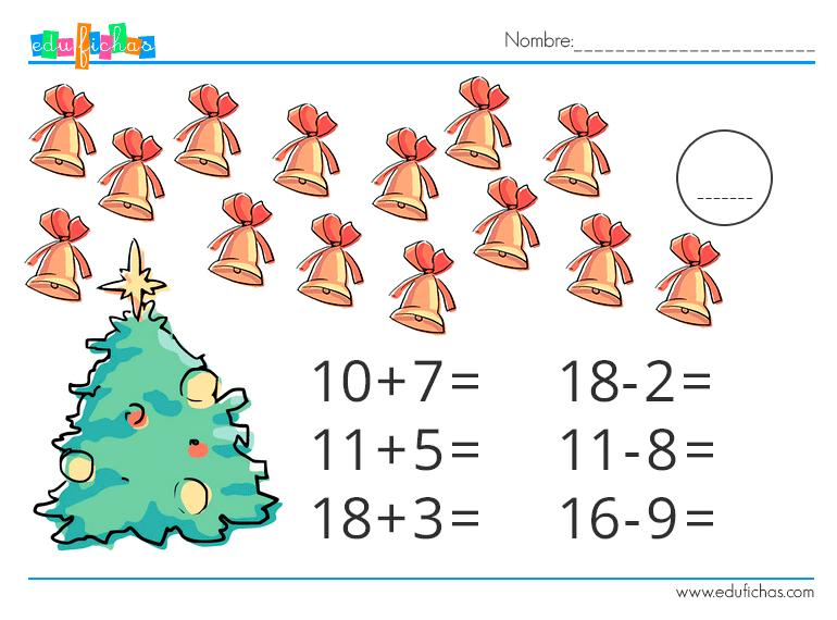 fichas navidad para niños de matematicas