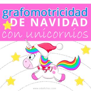 Grafomotricidad de Navidad con unicornios