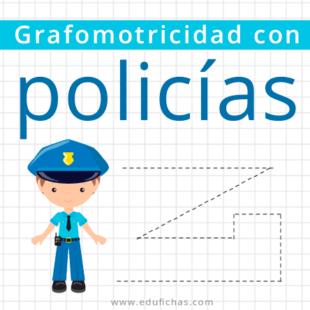 Fichas de grafomotricidad con policías para pre kinder