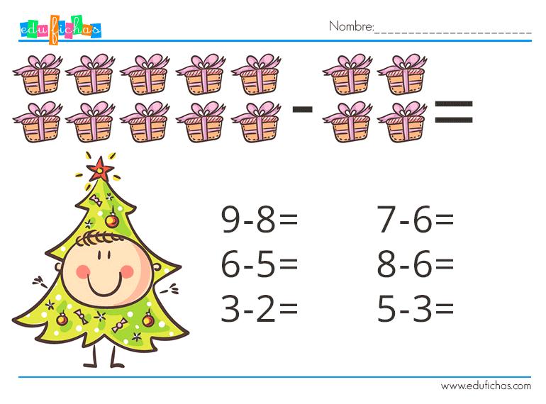 restas simples para infantil, vacaciones de navidad