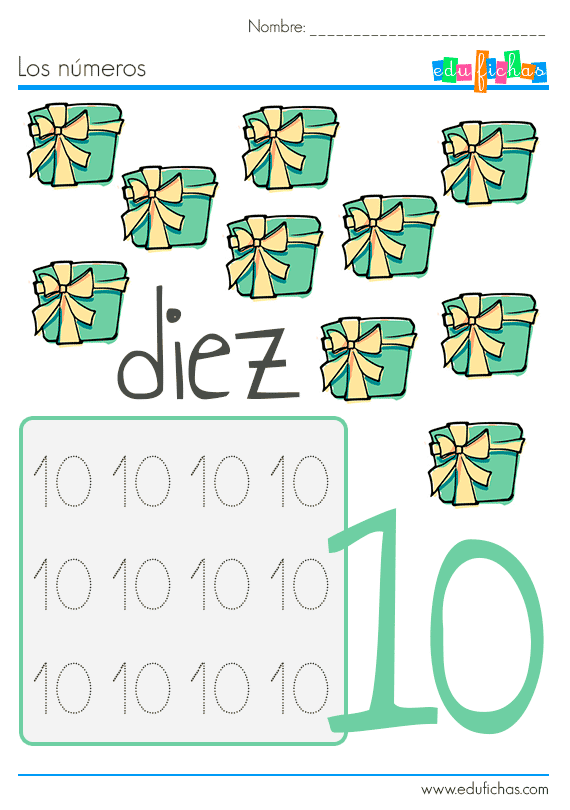 los números del 1 al 10 en navidad