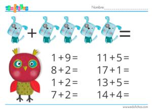 cuaderno de matematicas con animales sumas