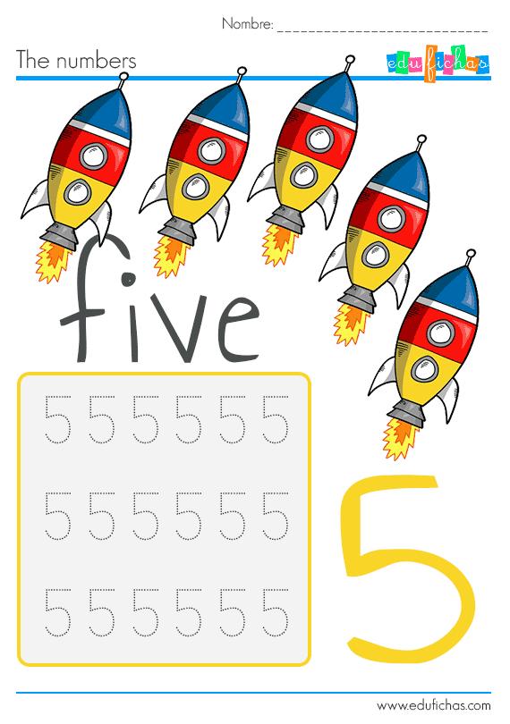 aprender los numeros en ingles numero 5