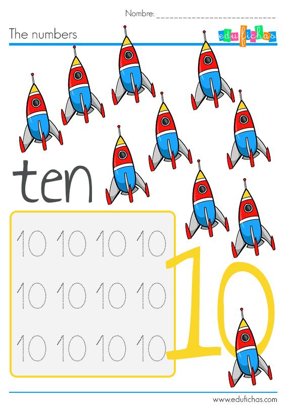 los niños aprenden el numero 10 en ingles