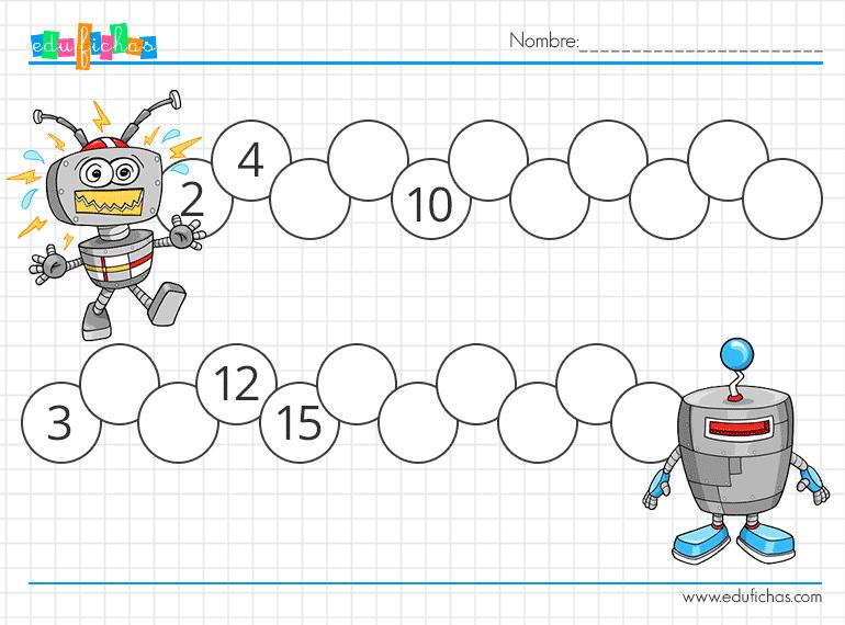 fichas de series numericas con dibujos para niños