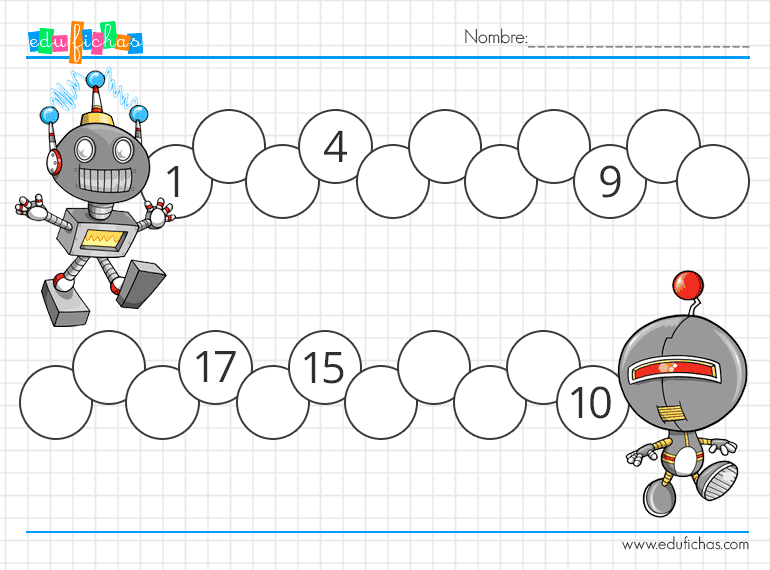 cartillas con series numericas de robots