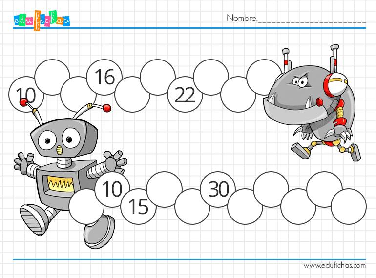 hojas de trabajo para niños con series numericas y dibujos de robots