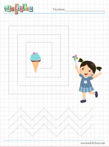 ficha de grafomotricidad con helados
