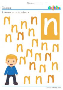 dislexia letra n