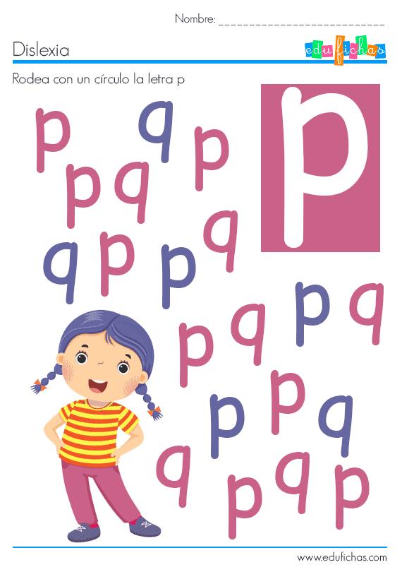 dislexia letra p