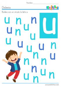dislexia letra u