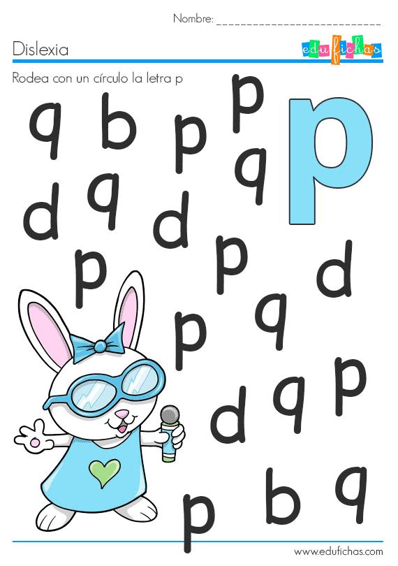 fichas dislexia letra p