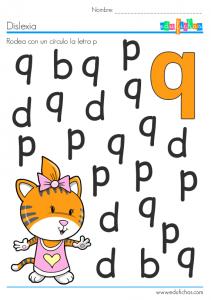 letra q dislexia con dibujos
