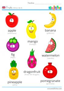 frutas ingles vocabulario niños