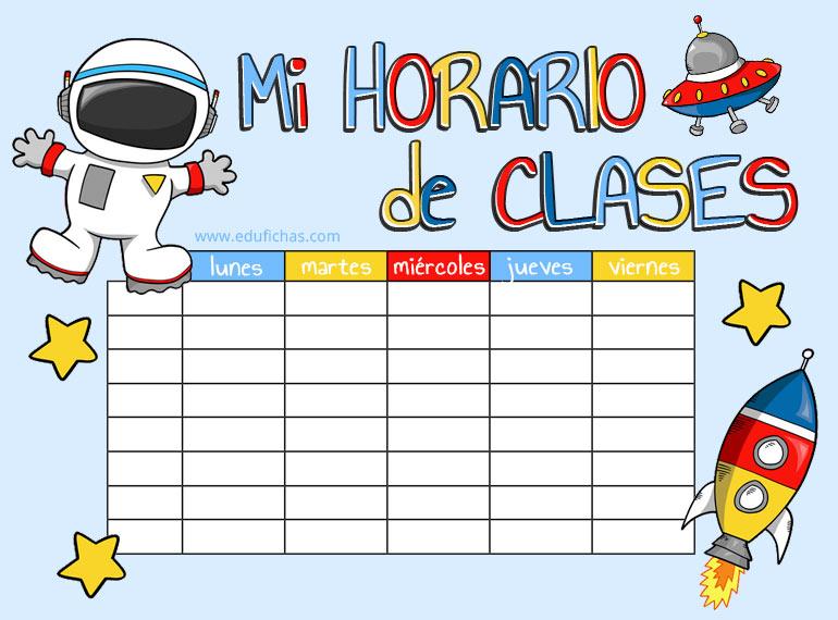 horario de clase con un astronauta para niños