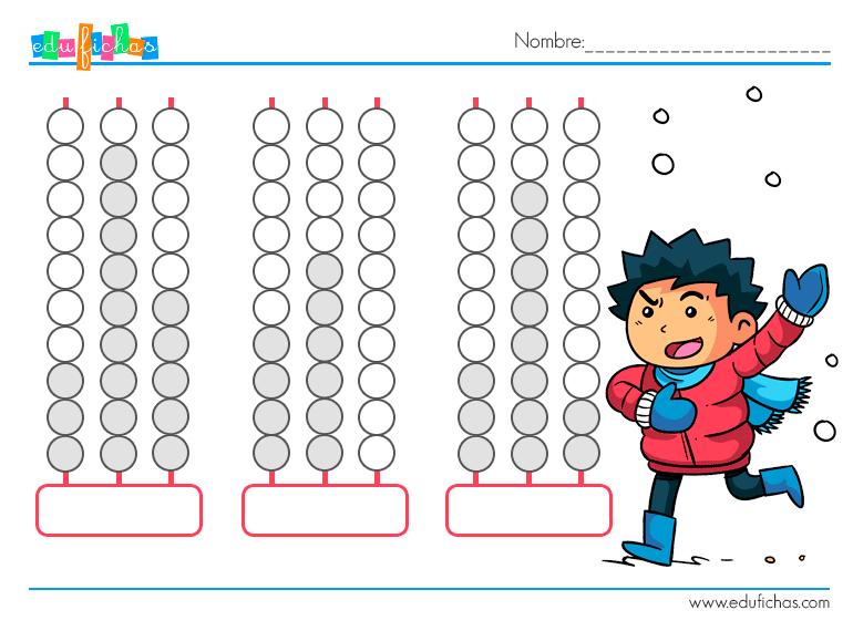 Fichas Con ábaco Actividades Para Niños Aprender Cálculo