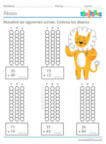 ejercicios de sumas con el abaco