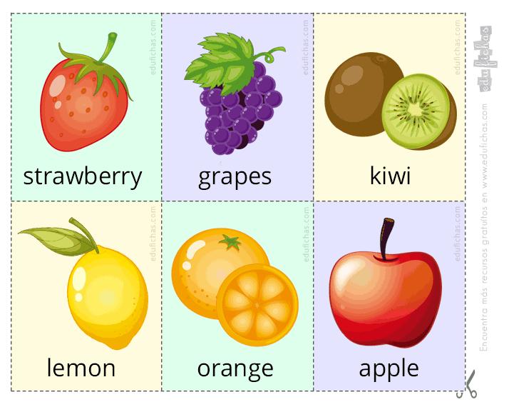 Frutas En Inglés Para Niños Vocabulario Ejercicios Y