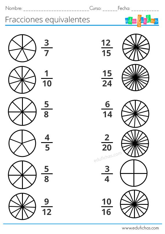 Fracciones Para Niños Ejercicios Con Equivalentes
