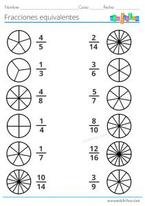 ejercicios fracciones equivalentes para primaria