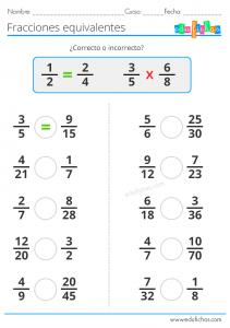 ejercicio con fracciones equivalentes