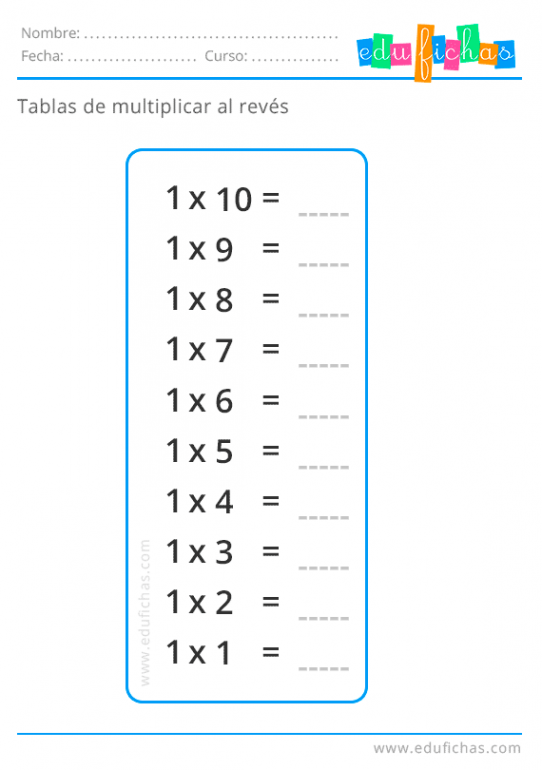 tabla del 1 al reves