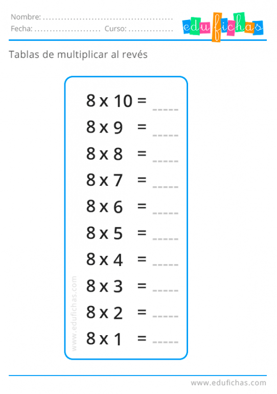tabla del 8 al reves