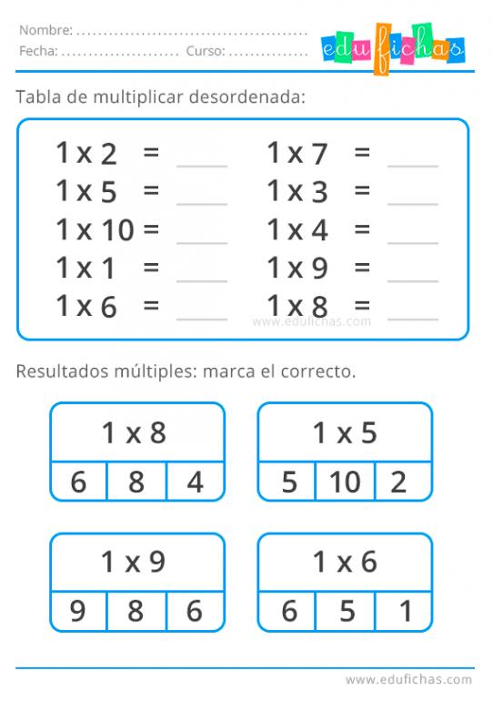 tabla del 1 desordenada
