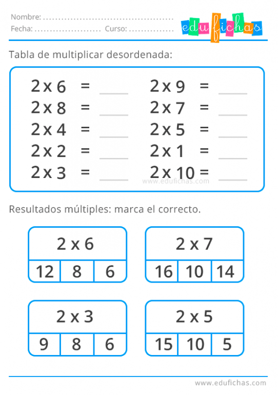 tabla del 2 desordenada