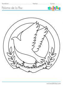 colorear la paloma de la paz