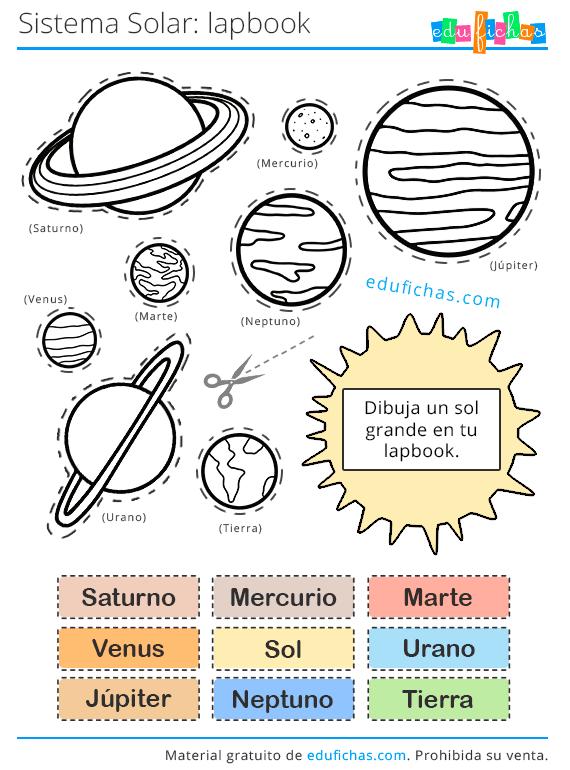 colorear el sistema solar lapbook