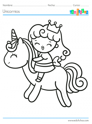 colorear unicornio princesa