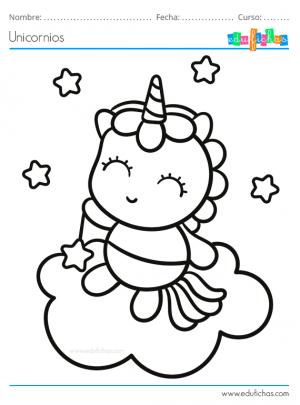 dibujo para pintar de un unicornio bebe