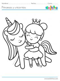 dibujos de princesas y unicornios