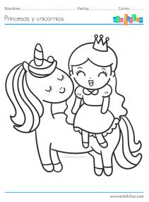 dibujos para pintar de princesas y unicornios