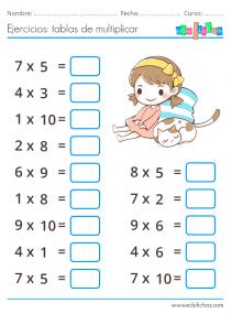 ejercicios para niños de las tablas de multiplicar