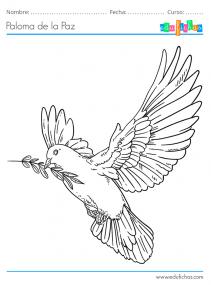 paloma de la paz para colorear