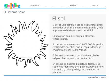 sistema solar ficha el sol