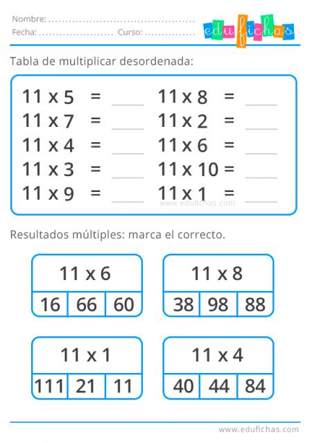 tabla del 11 desordenada