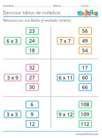 ejercicios para practicar las tablas de multiplicar